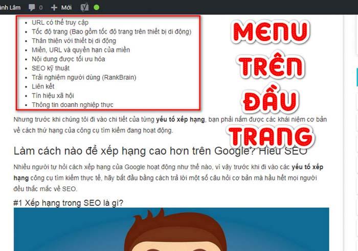 internal links menu